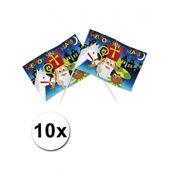 10 Papieren welkom Sinterklaas zwaaivlaggetjes 20 x 30 cm thumbnail