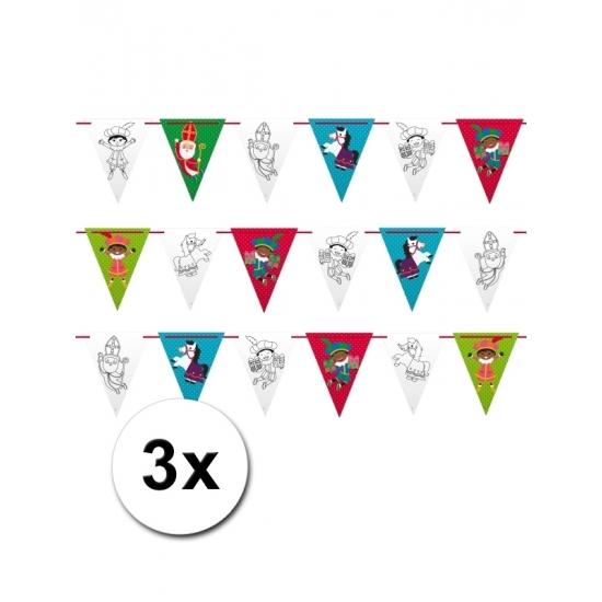 3 voordelige Sinterklaas vlaggetjes slingers 6 m thumbnail