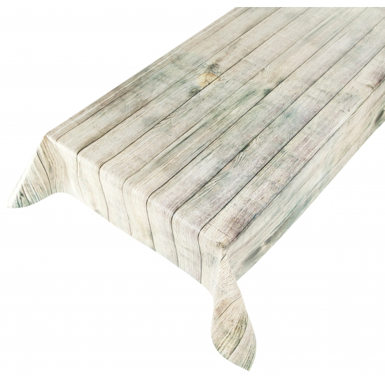 Beige tafellaken met hout motief 140 x 240 cm