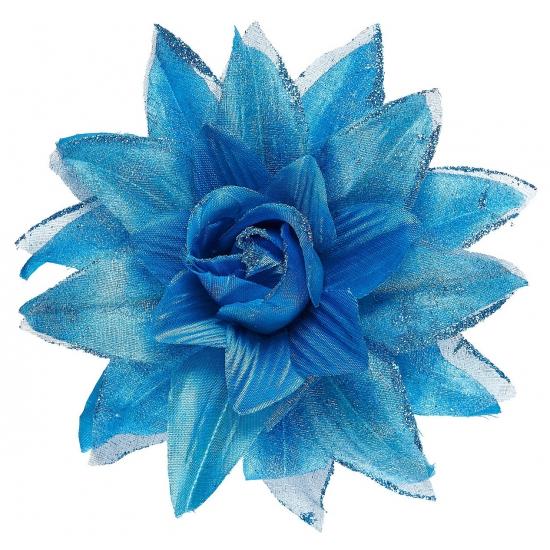 Blauwe bloem haarspeld met glitters