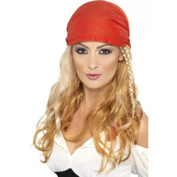 Blonde lange pruik met rode bandana