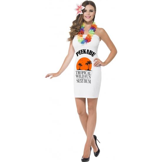 Dames jurkjes wit drank label peekabu