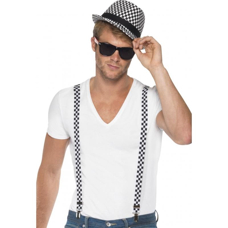 Hoed met bretels zwart/wit