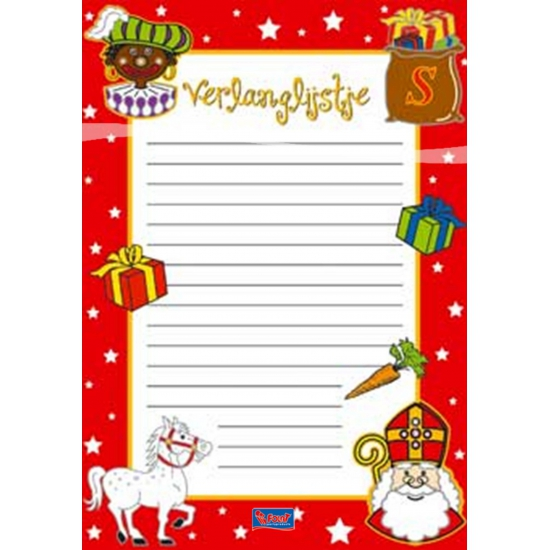 Kinder verlanglijst Sinterklaas 6 stuks thumbnail