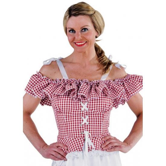 Oktoberfest blouse Carmen rood geruit