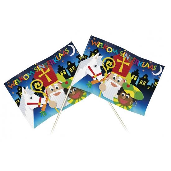 Papieren welkom Sinterklaas zwaaivlaggetje 20 x 30 cm thumbnail