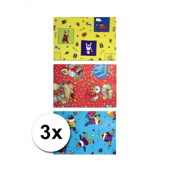 Sinterklaas metaal folie cadeaupapier 3 rol thumbnail