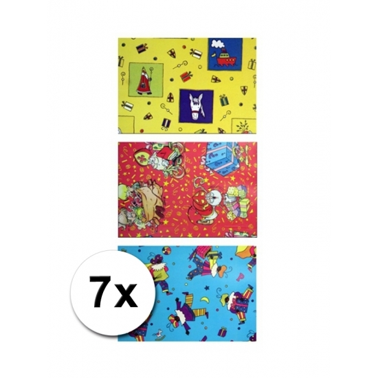 Sinterklaas metaal folie cadeaupapier 7 rol thumbnail