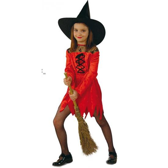 Suede heksenjurk voor meisjes rood