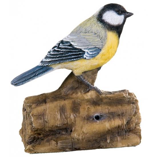 Tuin decoratie vogel koolmees met geluid 12,5 cm