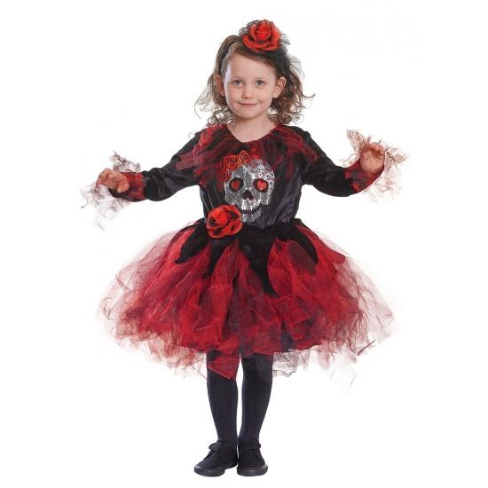 Verkleedkleding jurkje rode tutu met doodshoofd