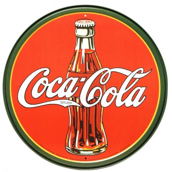 Wandplaatje Coca-cola rond 30 cm
