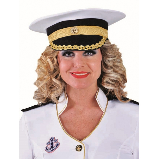 Witte luxe kapitein pet