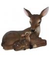 Decoratie beeld liggende herten diertjes 23 cm