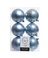 18x Kerstboom ballen ijsblauw 8 cm
