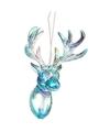 1x Kersthangers figuurtjes blauwe parelmoer acryl rendier