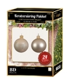 24 Stuks glazen Kerstballen pakket licht champagne 6 cm