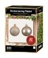 32 Stuks mix glazen Kerstballen pakket licht parel 6-8-10 cm