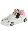 Bruidspaar in witte cabrio beeldje 14 cm