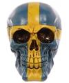Decoratie schedel blauw-geel
