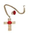 Feest Sinterklaasketting-Sinterklaasring verkleedaccessoire goud met kruis en rode stenen voor heren