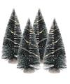 Kerst landschap kerstdorp bomen 4 stuks 15 cm met licht op batterijen