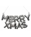 Kerstboom hangertjes zilveren Merry Xmas tekst 20 cm