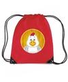 Kippen rugtas-gymtas rood voor kinderen