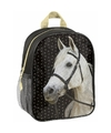 Paarden kleuter-peuter schooltasje zwart 28 x 22 x 10 cm