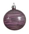 Transparante kerstballen met strepen lila paars 8 cm