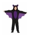 Zwart met paars carnaval vleermuizenpak voor jongens