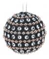 Zwarte kerstballen met diamantjes 3,5 cm